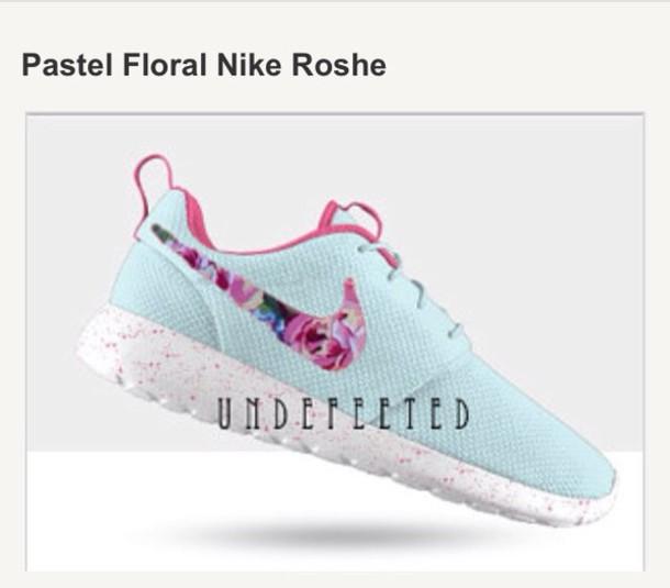 62455cdbf632d shoes nike nike roshe run sneakers roses light blue nike running shoes nike  shoes womens roshe