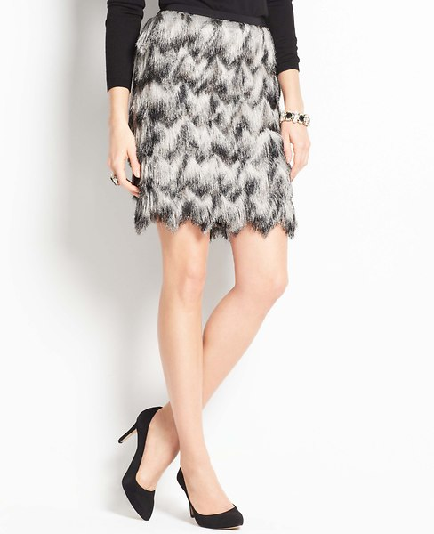 Ombre Feathered Fringe Skirt | Ann Taylor