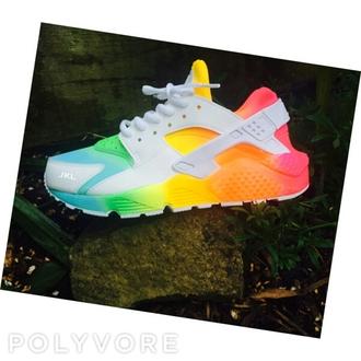 shoes rainbow huarache nike multicolor colorful nikes