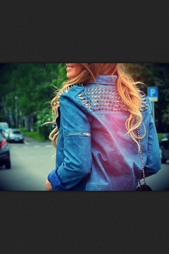 jacket blue denim undefined studs pretty blonde hair dip dyed pyramid studs brunette studded jacket loy loves