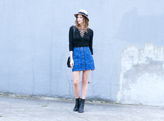 styling my life blogger top skirt shoes bag jewels hat lace up bodysuit long sleeve bodysuit
