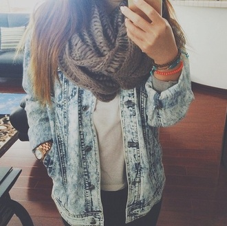 jacket fall outfits scarf acid wash