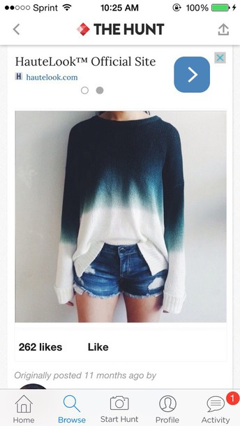 sweater ombre shirt ombre blue white