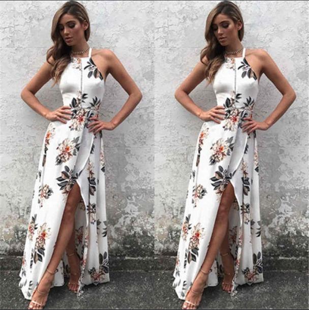 dress white dress white floral dress floral dress floral long dress no sleeve dress