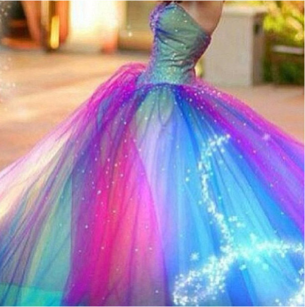Dress clothes prom wedding pink blue purple for Pink and blue wedding dresses