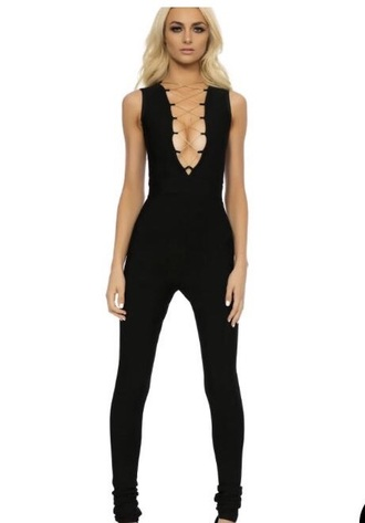 jumpsuit black black jumpsuit sexy dress bodycon jumpsuit lace up sexy sexy outfit summer outfits spring outfits fall outfits winter outfits plunge v neck plunge neckline cute girly date outfit clubwear