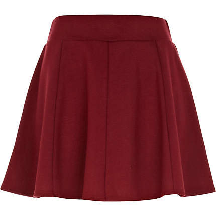 Dark red jersey skater skirt - skater skirts - skirts - women on Wanelo