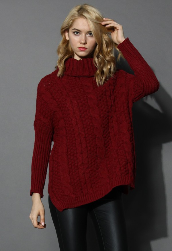 chicwish wine cable knit turtleneck