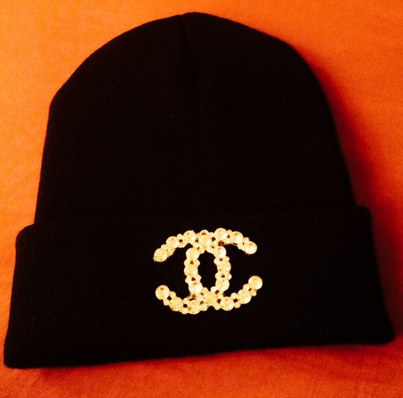hat beanie black style black beanie tumblr clothes diamonds chanel