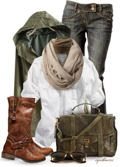 jacket green jacket scarf bag boots jeans cross body bag dark wash jeans infinity scarf white