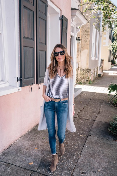 cardigan tumblr grey cardigan denim jeans blue jeans top stripes striped top boots ankle boots sunglasses