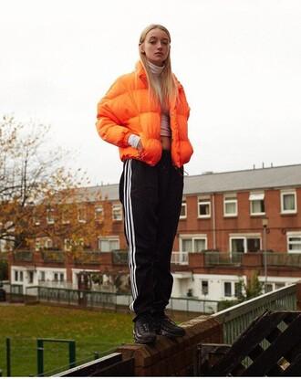 coat jacket orange red burnt orange coat puffer jacket padded outerwear winter coat