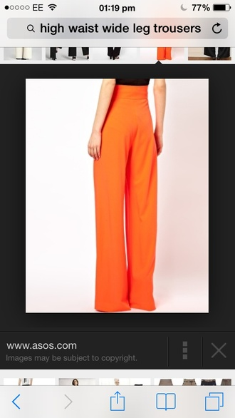 pants palazzo pants asos high waisted pants wide-leg pants orange long legs