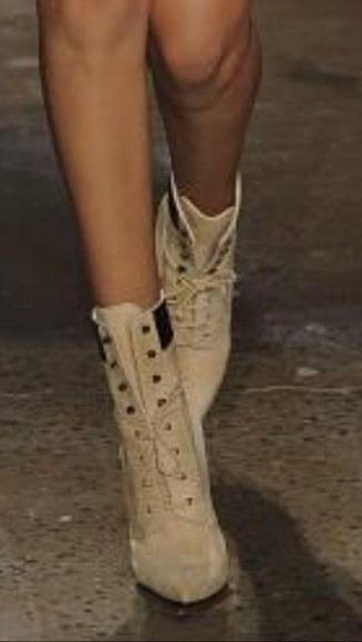 model shoes high heels boots beige point high laces catwalk 2014