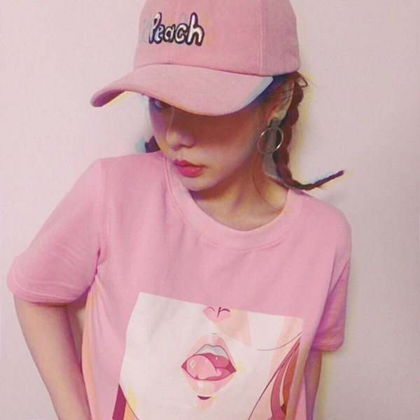 Top Pink Anime Girl Sexy T Shirt T Shirt Harajuku