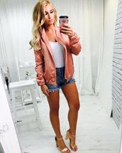 shoes,sandals,high heel sandals,gold sandals,shorts,denim shorts,blue shorts,summer top,summer outfits,top,white top,satin bomber,bomber jacket,pink bomber jacket,frayed denim