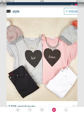shirt bff best friends in heart grey and pink heart grey pastel pink girly
