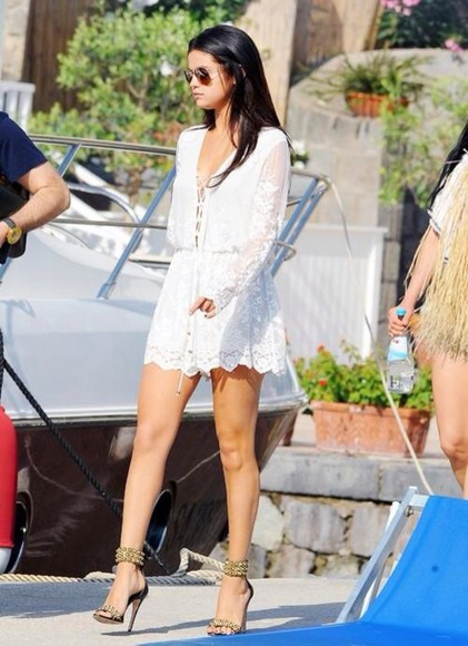 selena gomez white dress lace dress shoes