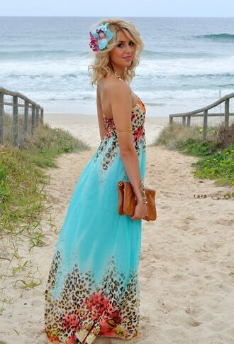 dress maxi dress jasmine beach dress floral summer dress aqua blue leopard print princess jasmine aqua maxi dress blue strapless beach tempt turquoise aqua maxi dress aqua sky blue animal print