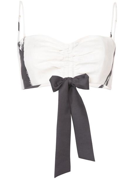 Zimmermann bralette bow women white print silk underwear