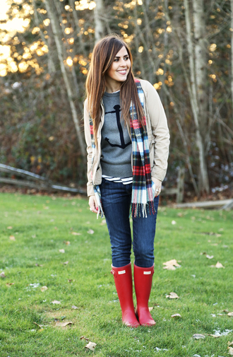 dress corilynn blogger jeans wellies anchor grey sweater tartan scarf
