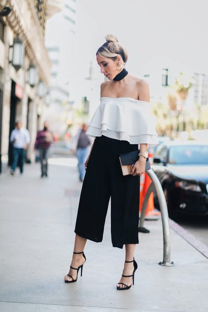 Pants tumblr black pants black culottes culottes cropped pants sandals sandal heels high ...