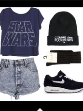 t-shirt,shoes,nike,hat,star wars,shorts,hipster
