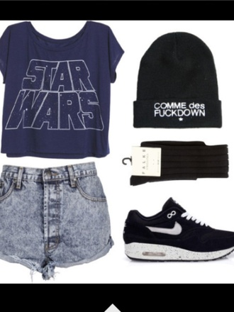 shoes t-shirt shorts hat nike star wars hipster