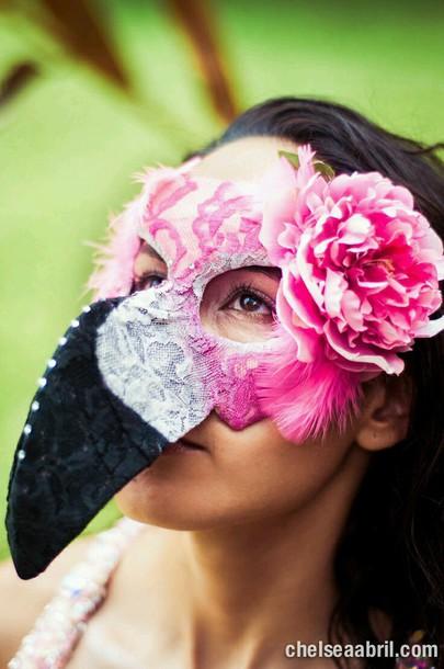 hat mask flamingo pink costume birds flowered shorts