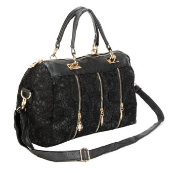 Amazon.com: LadIes Black Retro Vintage Lace Flower Tote Handbags Shoulder Bag Purse: Shoes