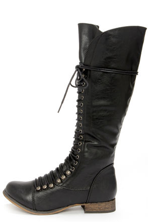 Cute Black Boots - Lace-Up Boots - Knee High Boots - $49.00