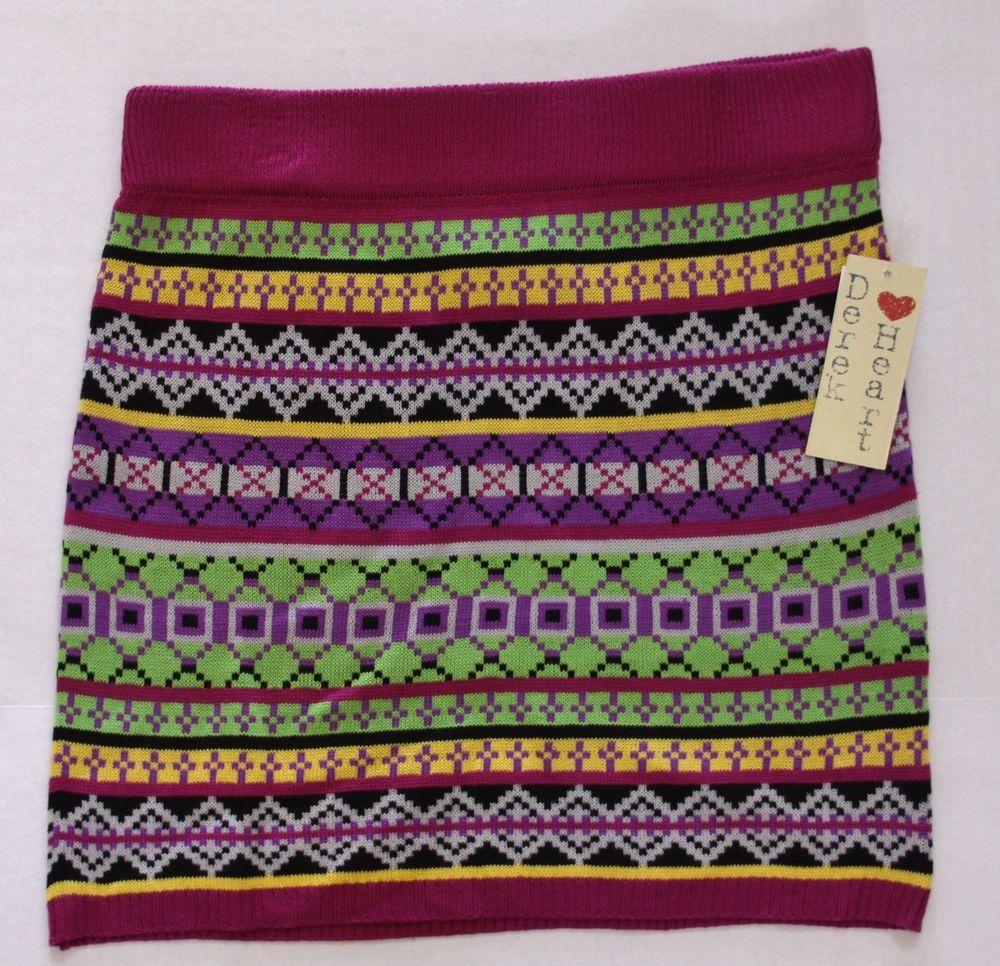 Juniors Derek Heart Plum Multi Colored Mini Pencil Sweater Skirt Sz M New | eBay