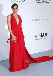 dress,red,red dress,long dress,prom dress,gown,michelle rodriguez,plunge v neck,amfar,cannes