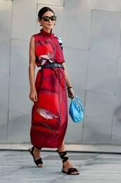 shoes,ankle strap,flat sandals,black sandals,midi dress,printed dress,belt,sunglasses,handbag,earrings