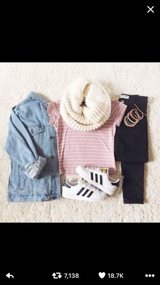 shoes adidas superstars white adidas black jeans scarf outfit pants