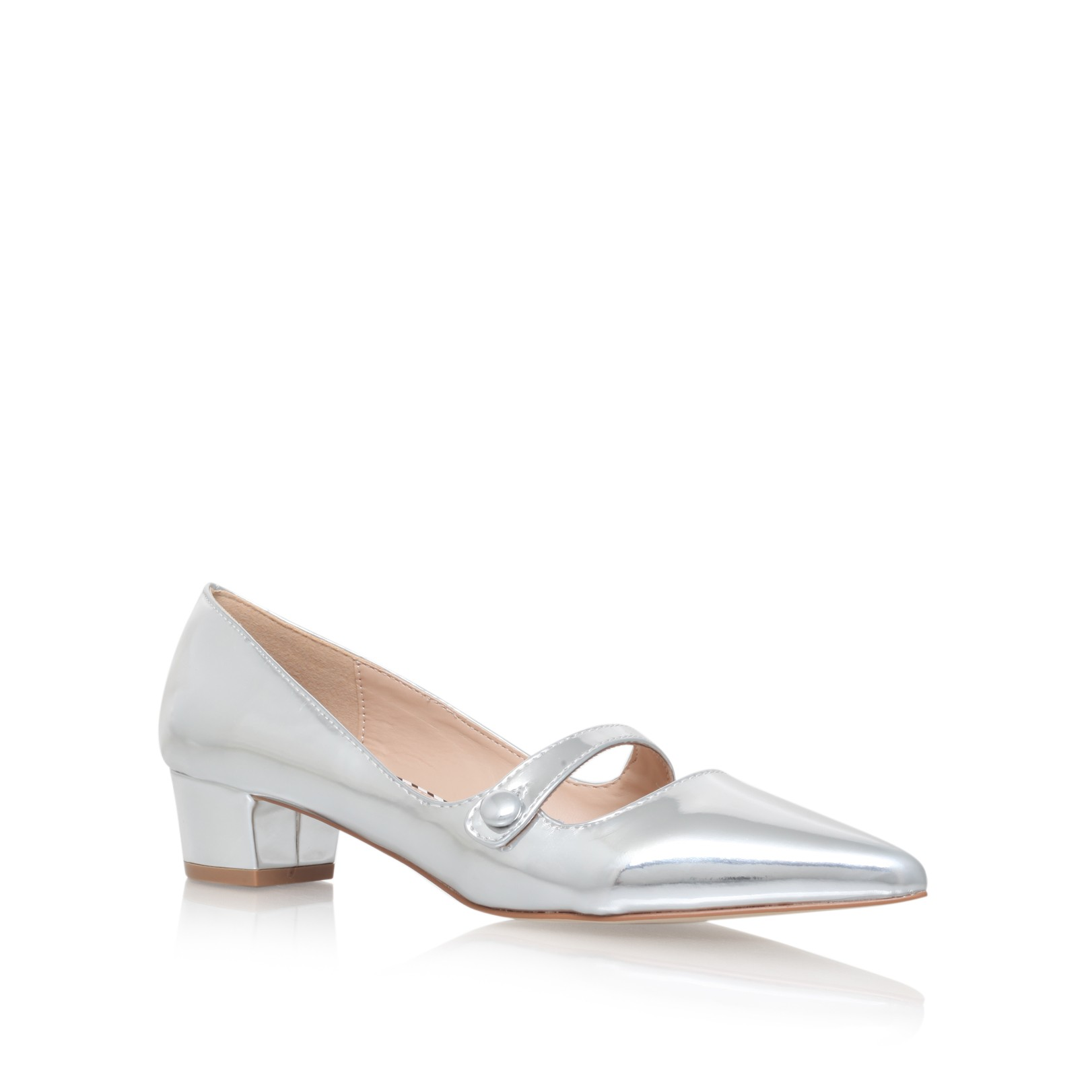 6d8ea8b9233e AUDRINA Silver Low Heel Court Shoes by Miss KG