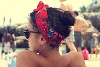 jewels headband brunnette tumblr flowers beach red multicolor swimwear summertime sunshine headwrap sunglasses tan