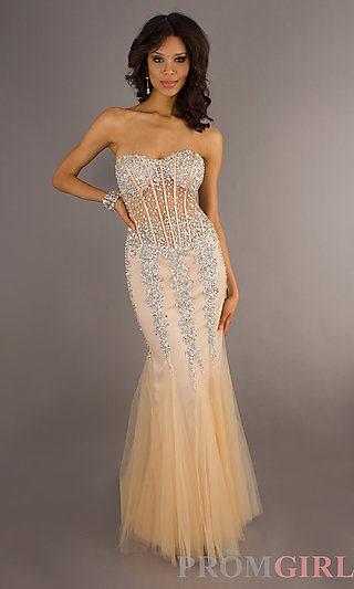 Prom dresses, celebrity dresses, sexy evening gowns at promgirl: embellished strapless mermaid gown