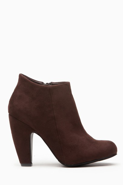 d98d8e69952 shoes dark brown brown vegan suede suede chunky heel bootie boots ankle  boots