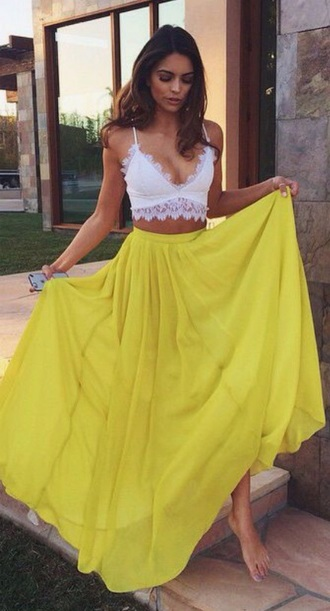 shirt yellow skirt long skirt beautiful neon yellow yellow summer skirt coral beautiful skirt pretty want this short love white crop tops solid color skirt