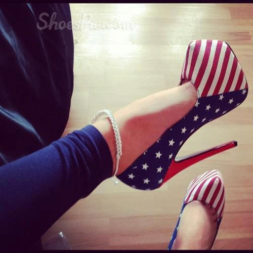Fashionable Flag Print Stiletto Heel Platform Ankle Strap High Heel Shoes