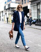 jacket,double breasted,blazer,sneakers,jeans,white t-shirt,sunglasses,handbag