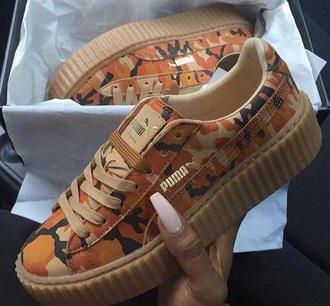 shoes orange creepers puma bape camouflage puma sneakers girl girly girly wishlist cute tumblr trendy puma creepers