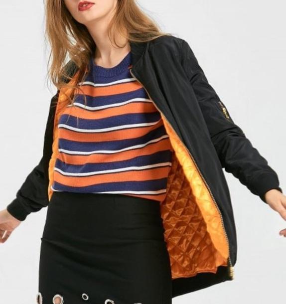 jacket girly black bomber jacket black bomber jacket orange long longline jacket
