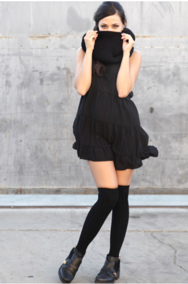 babydoll dress baby doll knee high socks cut-out cut out ankle boots scarf black baby doll dress hipster lovely girl girly