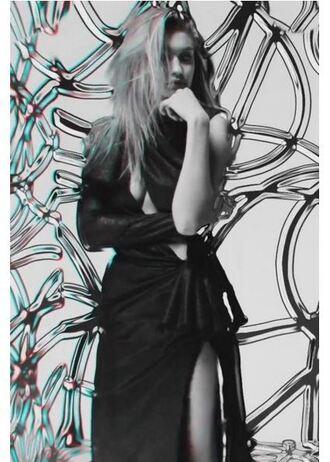 dress asymmetrical dress gigi hadid music video black dress one shoulder slit dress