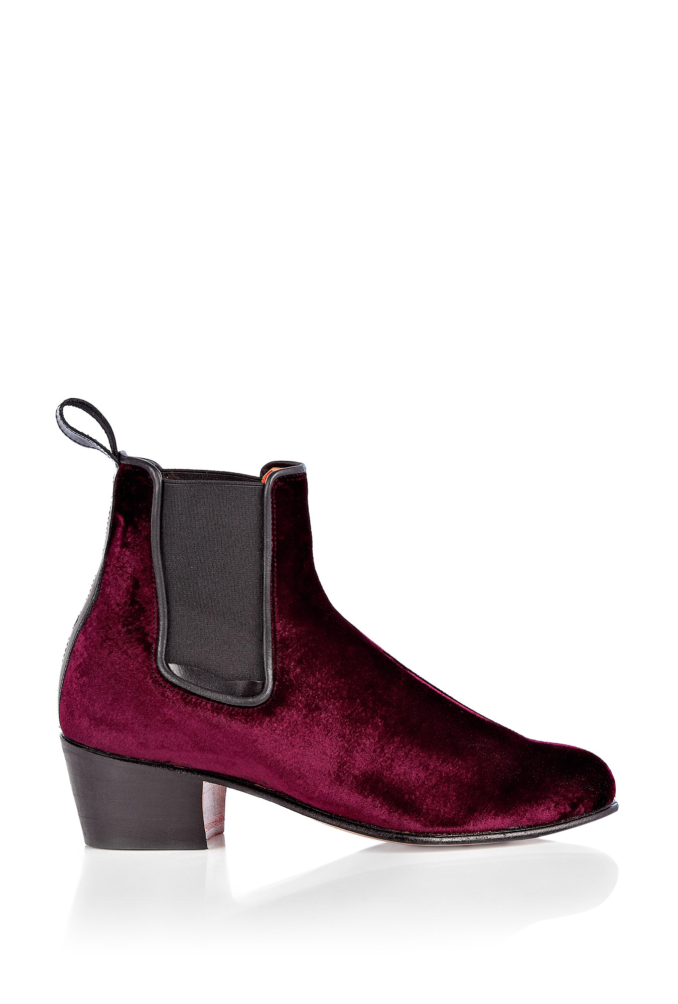 Penelope Chilvers | Red Cubana Velvet Ankle Boot by Penelope Chilvers