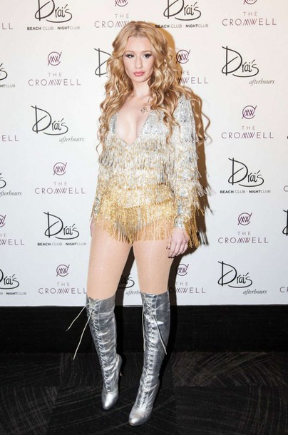 dress sequin dress sequins iggy azalea costume knee high boots silver gold shoes