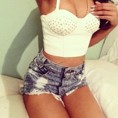 shirt,gold,studs,shorts,denim,bralette,crop tops,body chain,blouse,white,summer,jewels,t-shirt,tank top,top,jewelry,acid washed shorts,High waisted shorts,spikes,white swimwear,gold chain,glamour,sjorts,jeans,black crop top,acid wash,rhinestones,long,accessories,bustier,white crop tops