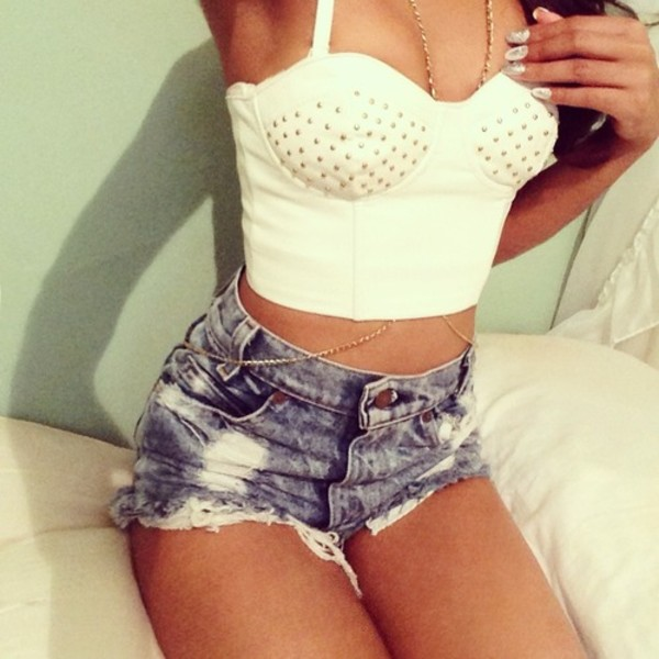 shirt gold studs shorts denim bralette crop tops body chain blouse bralette white summer jewels t-shirt crop tops tank top glamour sjorts acid wash rhinestones